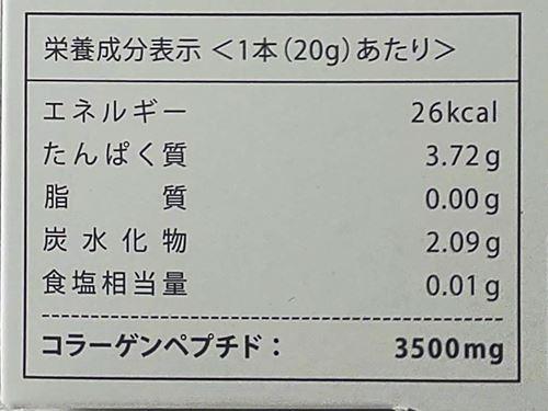 梱包箱の栄養成分表示